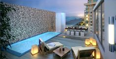unique rooftop deck ideas swimming pool lounge furniture outdoor lighting modern dining furniture set - plunge pool on rooftop Infinity Pools, Rooftop Terrace, Terrace Garden, Terrace Ideas, Garden Bar, Pergola Designs, Pool Designs, Rooftop Design, Home Garden Design
