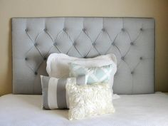 tufted upholstered headboard wall mounted queen or full size gray chambray