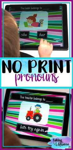 $3 No Print Pronouns is a great way to teach pronouns with no prep! Simply open this no print activity on your computer or tablet!