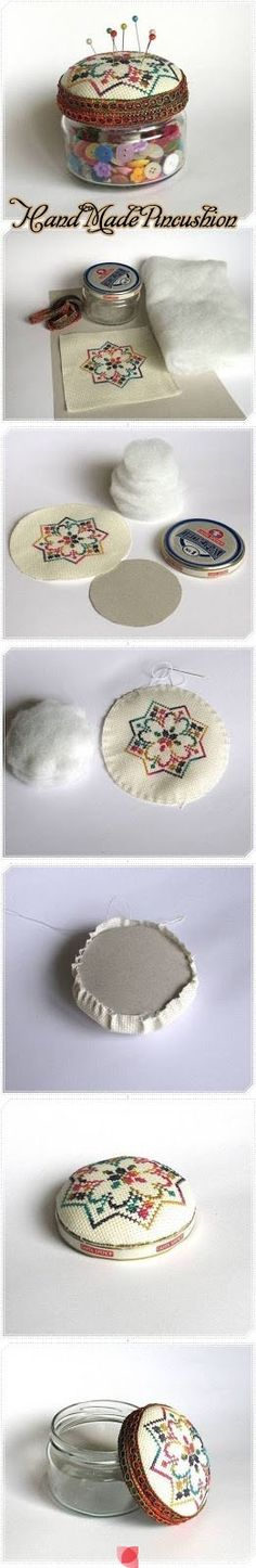 Pin Cushion Storage Jar - Try a Pagan-y design for the embroidered top such as a triple moon or a hexcraft mandala.