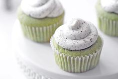 Green Tea Cupcakes with Black & White Frosting