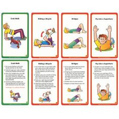 Do you want to improve your childs core and upper body strength, hand use, and manipulation skills? Use these cards to teach controlled use and st. Occupational Therapy Activities, Pe Activities, Exercise Activities, Pediatric Occupational Therapy, Movement Activities, Gross Motor Activities, Physical Education Games, Gross Motor Skills, Physical Activities