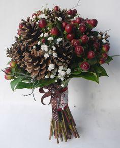 bukiet ślubny z szyszek kwiaciarnia Zielona Oliwka - nasze prace