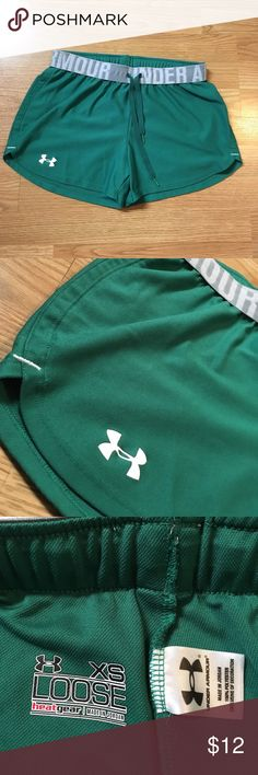 Under Armour running shorts Excellent condition! Has minor piling on the outside waistband but it's barely noticeable (see pic of closeup of waistband). Side measures about 10 inches, inseam measures about 3 inches. Bundle with the PINK VS running shorts (size XS) in my closet for a better deal! Let me know if you have any questions Under Armour Shorts