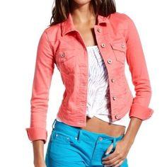 Coral denim jacket NWT! Coral colored denim jacket. Never worn! Jackets & Coats Jean Jackets