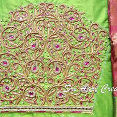 No photo description available. Best Blouse Designs, Wedding Saree Blouse Designs, Simple Blouse Designs, Mirror Work Blouse Design, Hand Work Design, Embroidery Neck Designs, Border Embroidery, Embroidery Stitches, Maggam Work Designs