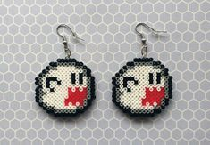 Super Mario's Boo Ghost 8-bit pixel bead earrings made from Perler beads/Hama beads/mini Hama beads by: 8BitEarrings on Etsy