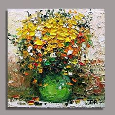 Hand Painted Modern Knife  Flower Oil Painting with Stretched Frame Ready to Hang – USD $ 79.99