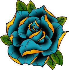 Rose Drawing Neotraditional Rose in Blue Sticker - Rework of a tattoo staple, the ever trusty rose! / Updated with a neotraditional style Neo Traditional Roses, Traditional Tattoo Flowers, Neo Traditional Tattoo, American Traditional, Tattoo Henna, Arm Tattoo, Body Art Tattoos, Sleeve Tattoos, Tatoos