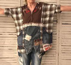 Distressed Jeans Cali Hoodie Kaftan One Size by AnikaDesigns