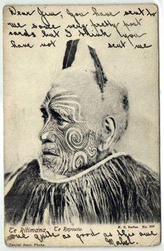 1905 New Zealand Maori Chief Te Ritimana Rapoutu Maori Face Tattoo, Ta Moko Tattoo, Maori Tattoos, Polynesian People, Maori People, Black History Books, Maori Tattoo Designs, Nz Art, Maori Art