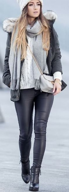 This winter outfit is so cute with these leather leggings! Already have the leggings, just need the other pieces.
