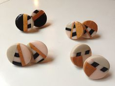 POLYMER clay earrings in gold, black, taupe and light pink - geometric - by Margalló. €6,00, via Etsy.