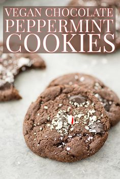 Vegan Chocolate Peppermint Cookies! These are the PERFECT cookie for your holiday gift exchange! Vegan chocolate peppermint cookies with crushed candy canes on top. Easy to make, no cutting or rolling required! | #vegancookies #cookieexchange #holidaycookies #healthycookies #chocolatecookies #peppermint #recipes | www.delishknowledge.com