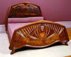 "artnouveaustyle: ""This is the Lit Aube et Crépuscule (Dawn and Twilight bed) by Emile Gallé. It was made in 1904 and is at the Musée de l'Ecole de Nancy. The materials include Rosewood, ebony, mother of pearl and glass. The bed symbolizes dusk, dawn. Mobiliário Art Nouveau, Design Art Nouveau, Muebles Estilo Art Nouveau, Muebles Art Deco, Art Nouveau Furniture, Antique Furniture, Lawn Furniture, Repurposed Furniture, Architecture Art Nouveau"