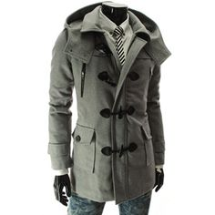 (HWC-GRAY) Removable Hood Zipper Wool Coat