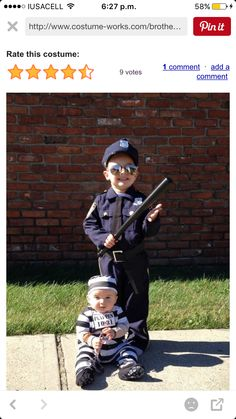 22 halloween costumes for kids/girl!Halloween may be a time of all things spooky and scary but you just can\'t beat the cuteness of a toddler in costume. Find the best toddler Halloween Costume . Halloween Costumes For Brothers, Matching Halloween Costumes, Halloween Costume Contest, Boy Costumes, Halloween Kids, Costume Ideas, Costumes For Siblings, Family Costumes For 4, Cop Costume For Kids