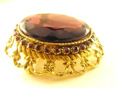 Brooch Large Purple Faceted Glass Renaissance Revival Style