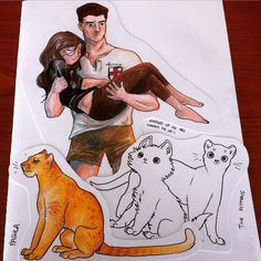 One of my favorite Kyra/Tristam moments, drawn by Savannah Jarrett . Also, Pashla and the demon kittens! I love how curious and surprised the kittens look. #MidnightThief #fanart