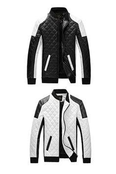 3d599c8a31 Patchwork Stand Collar Color Block Mens Leather Jacket.#Jacket#coats#mens  jacket