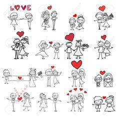 Illustration of hand drawing cartoon happy couple wedding vector art, clipart and stock vectors. Wedding Couple Cartoon, Love Illustration, Wedding Illustration, Couple Drawings, Stick Figures, Cartoon Drawings, Wedding Couples, Doodle Art, How To Draw Hands
