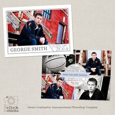 Senior Graduation Announcement Template for by ClickChicksDesigns, $8.00