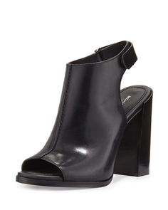 MICHAEL KORS Maeve Leather Open-Toe Bootie, Black. #michaelkors #shoes #boots