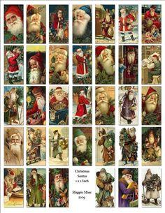 Christmas Santas Digital Collage Sheet Printable 1 by MagpieMine