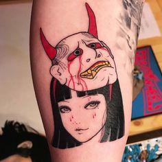 Tomie x hannya ink by suzani. tomie x hannya ink by suzani piercing tattoo Dope Tattoos, Baby Tattoos, Anime Tattoos, Trendy Tattoos, Mini Tattoos, Body Art Tattoos, Small Tattoos, Tatoos, Oni Mask Tattoo