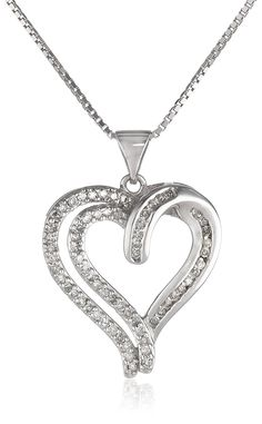 Sterling Silver 1/3 Cttw Diamond Heart Pendant Necklace, 18' (1/3 Cttw, J Color, I3 Clarity) -- Be sure to check out this awesome product.