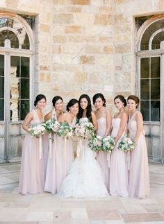 Wedding Dress, Vera Wang; Bridesmaid Dresses, Jenny Yoo; Bouquets, Camellia Floral Design; Photo: KT Merry Photography - California Wedding http://caratsandcake.com/IngaandJames