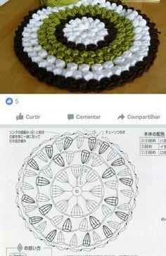 Crochet Mandala Pattern, Crochet Circles, Crochet Diagram, Crochet Chart, Crochet Stitches, Crochet Patterns, Crochet Dollies, Crochet Flowers, Knitting Designs
