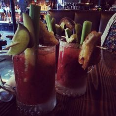 Bacon flavored bloody Mary with grilled cheese garnish from Cal's in Seattle Southside. Best Restaurants In Seattle, Oyster Shooter, Bacon Flavored, Bloody Mary Bar, Cocktail Shots, Thai Restaurant, I Want To Eat, Best Places To Eat, Happy Hour