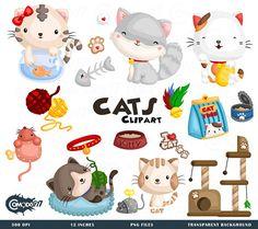 50%OFF!! Cute Cats Clipart - Cute Clipart, Cats Clipart, Fun Clipart, Clipart Set, Adorable Digital Clip Art