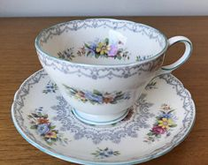 """Shelley """"Crochet"""" Vintage Tea Cup and Saucer English Floral Teacup and Saucer Bone China"""