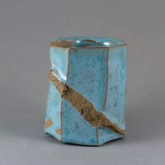 """Wood fired """"Discovery"""" Coffee Cup by Paul Fryman The very special small coffee cup for espresso. Suitable also as a guinomi for sake or whiskey. Faceted shape and original texture. Turquoise crackle glaze. 6x7cm volume is about 70ml 77$ #woodfiredpottery #pottery #potterypark #teabowl #coffeecup #clay #ceramics #paulfryman #guinomi#discoverypot"""