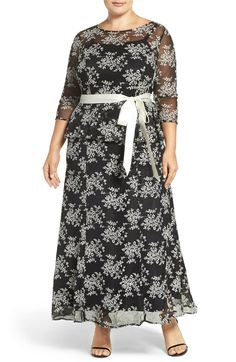 Main Image - Chetta B Mock Two-Piece Embroidered Peplum Gown (Plus Size)