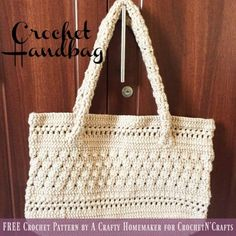 Crochet Handbag ~ FREE Crochet Pattern by A Crafty Homemaker