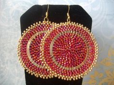 Seed Bead Earrings - Big Bold Black And Gold Disc Earrings - Beadwork Jewelry - Statement Jewelry Seed Bead Jewelry, Seed Bead Earrings, Beaded Earrings, Seed Beads, Beaded Jewelry, Crochet Earrings, Jewellery, Gold Statement Earrings, Big Earrings