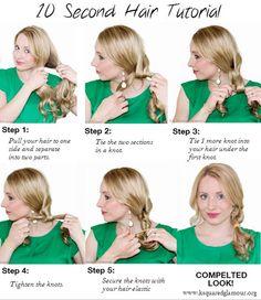 Trança feita com nós – Um penteado rápido e que fica super charmoso. <3