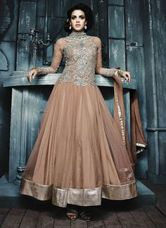 Amazing Peach Georgette Party Wear Salwar Kameez With Embroidery, Lace, Patch, Resham, Silver Zardosi, Stones Work Comes With A Matching Dupatta. Actual product might slightly vary from image. Slight color variation possible due to computer screen setting