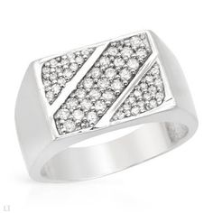 Sterling Silver 1.02 CTW Cubic Zirconia Men's Ring. Ring Size 8. Total Item weight 5.8 g. VividGemz. $39.00
