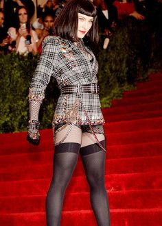 May 2013 Madonna at the Costume Institute Gala for the 'PUNK: Chaos to Couture' exhibition at the Metropolitan Museum of Art in New York. Madonna Fashion, Lady Madonna, Madonna 80s, Nylons, Blake Lovely, Japanese School Uniform Girl, Madonna Photos, Women In Music, Sexy Legs And Heels