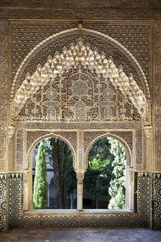Intricate window details in the Alhambra palace, Granada, Spain
