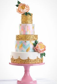 Image result for confetti and silver leaf top tiered cake