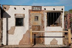 Old Western Cowboy Jail. Sheriff's office and jail of old western town. Cowboy Town, Cowboy Theme, Western Theme, Western Cowboy, Halloween Parade Float, Old Western Towns, Old West Town, Stage Set Design, Backyard Sheds
