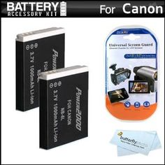 2 Pack Battery Kit For Canon PowerShot SX260 HS, SX260HS, Canon PowerShot SX500 IS, SX500IS Digital Camera Includes 2 Extended Replacement (1200Mah) NB-6L Batteries + LCD Screen Protectors + MicroFiber Cleaning Cloth