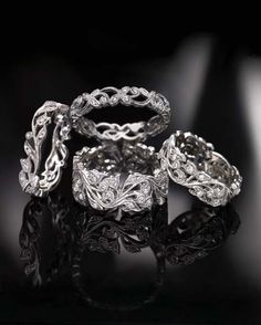 They're so pretty and delicate and Elven! I want one...  Audrey Bull Jewellers floral rings