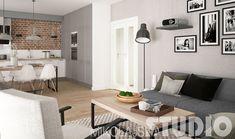 Otwarta przestrzeń w skandynawskim stylu w szarym kolorze