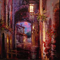 Cao Yong Street at night painting is shipped worldwide,including stretched canvas and framed art.This Cao Yong Street at night painting is available at custom size.